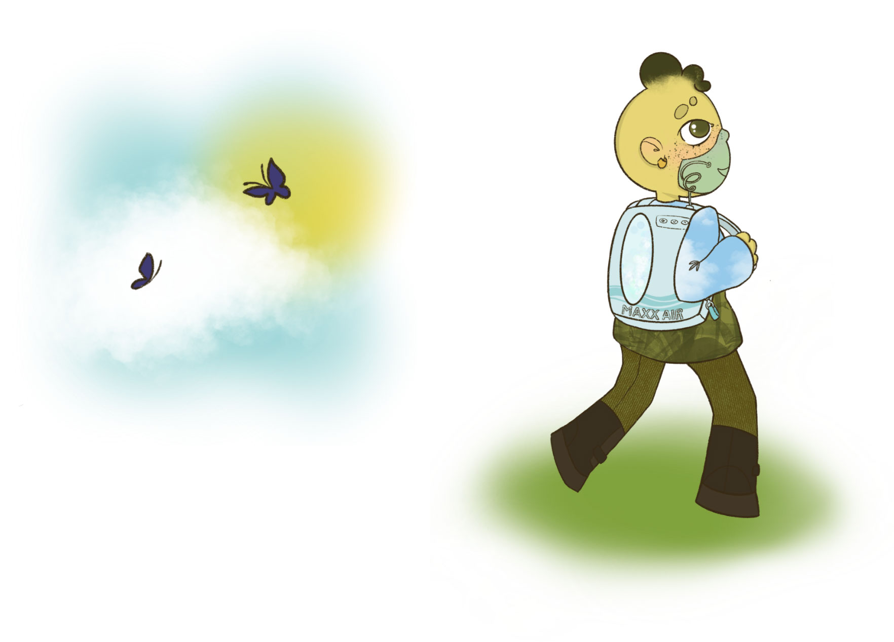 Hy walking surrounded by Butterflies